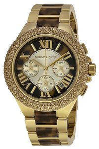 Michael Kors Crystal Pave Gold and Tortoise Shell Luxury Fashion ladies Watch