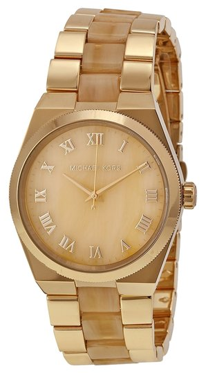 Michael Kors Horn Acetate and Gold Tone Classic Designer Ladies watch
