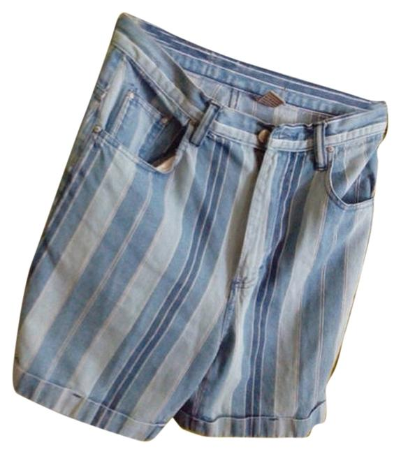 Item - Blue with Different Colors Of Blue Strips Medium Wash Rn:90420 & Id# 01088 Denim Shorts Size 33 (10, M)