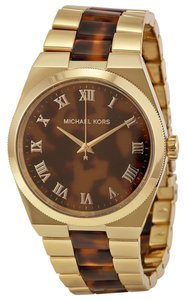Michael Kors Gold Tone and Tortoise Shell Classic Casual Designer Watch