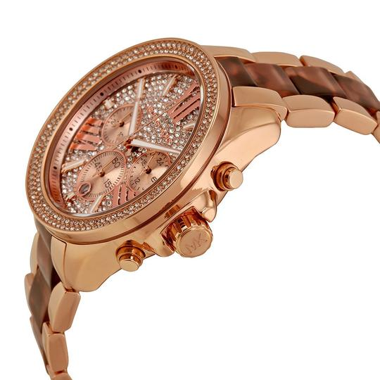 Michael Kors Crystal Pave Dial Rose Gold and Tortoise Shell Oversized Ladies Watch