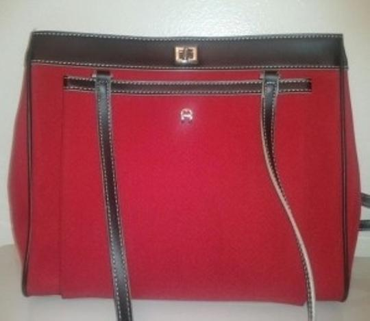 Preload https://item1.tradesy.com/images/etienne-aigner-classic-red-and-black-nylon-genuine-leather-tote-5390-0-0.jpg?width=440&height=440