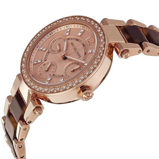 Michael Kors Crystal Bezel Rose Gold Tone Dial and Tortosie Shell Ladies Watch