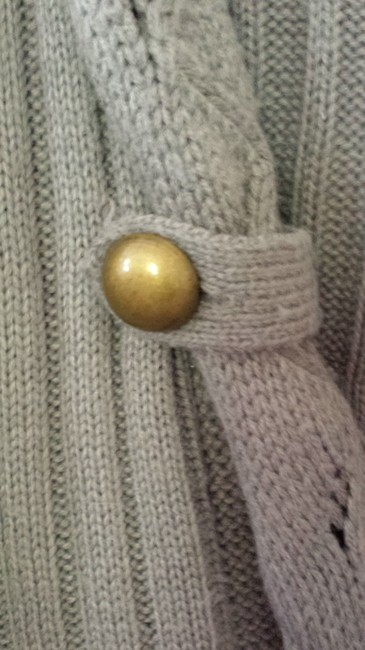 Love by Design Knit Military Brass Buttons Autumn Sweater Cable Knit Hooded 3/4-length Sleeve Cardigan