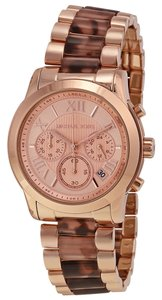 Michael Kors Rose Gold Casual Watch with Tortoise Shell Acetate