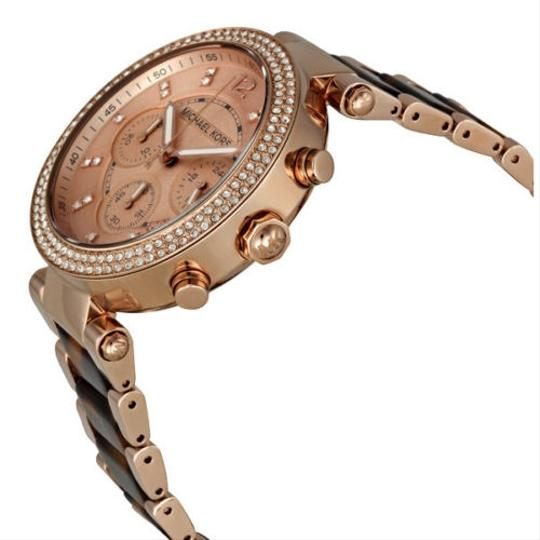Michael Kors Luxury Dress Styel Watch with Crystal Pave Rose Gold and Tortoise Shell Acetate