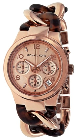 Michael Kors Tortoise Shell and Rose Gold Chain Link Bracelet Ladies Watch