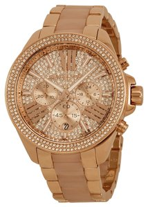 Michael Kors Blush Acetate and Rose Gold Crystal Pave Oversized Ladies Watch