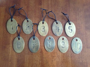 BHLDN Brass Antique Stamped Iron Table Numbers Tableware