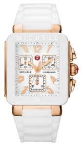 Michele Michele Park Jelly Bean Watch MWW06L000014 White Rubber Rose Gold Tone