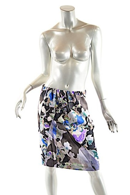 Dries van Noten Multi Color Silk Floral Skirt Coffee, cobalt, purple, green, mauve and taupe
