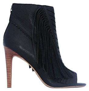 JOE'S Ankle Peep Fringe black Boots
