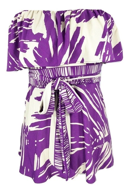 BCBGMAXAZRIA #strapless #straplesstop #tubetop #printed #abstractprint Top Orchid & Ivory