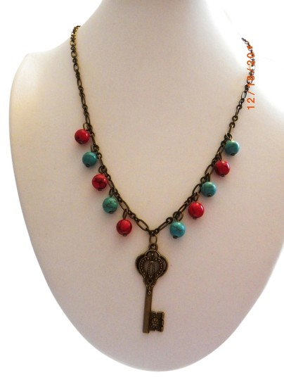 Other red blue gemstone beads bronze key charms chain pendent necklace