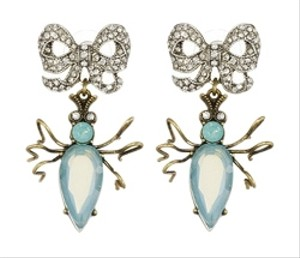 Betsey Johnson Brand New!!! Betsey Johnson Vintage Critters Blue Beetle Bow Drop Earrings Free Shipping