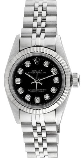 Rolex Rolex Oyster Perpetual No date Stainless Steel Custom Diamond Ladies Watch