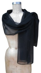 Black Chiffon Shawl Scarf Wrap with Rhinestones