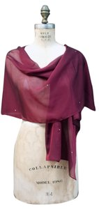 Other Burgundy Chiffon Shawl Wrap with Rhinestone
