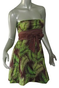 Free People short dress bright green leaf print New on Tradesy