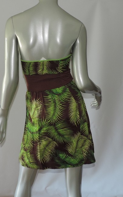 Free People short dress bright green leaf print New Mini on Tradesy