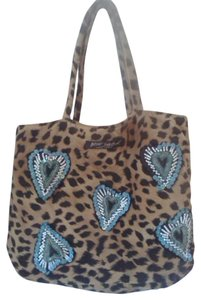 Betsey Johnson Embellished Sequin Soft Tote in Leopard