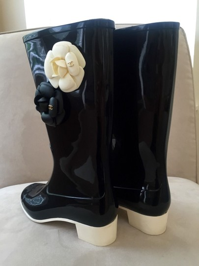 Chanel Black, White Boots