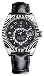 Rolex Rolex Sky Dweller Black Dial Black Leather Men's Watch 326139 New with box and papers