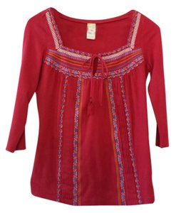 Anthropologie C Keer Red Embroidered Tie Boho Tunic