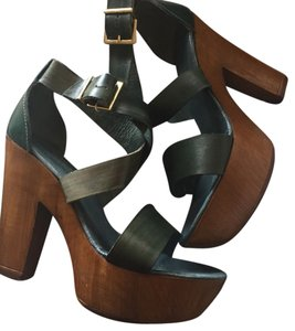 Savio 1969 New Platform Sandals Heels Green Platforms
