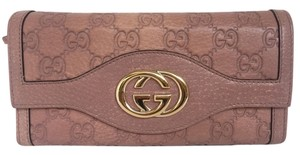 Gucci Gucci Guccissima Leather Continental Bifold Wallet Pink