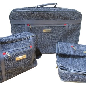 Oscar de la Renta Couture Suitcase Vintage Luggage Set Tweed Luggage Flying gray Travel Bag