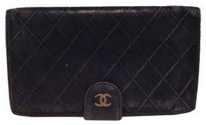 Chanel Chanel CC logo quilted black lambskin bi fold bifold french wallet with kiss lock pocket key coin holder