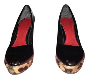 Nine West Animal Leather black patent/animal print Wedges