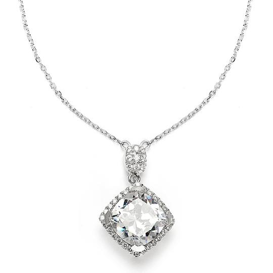 Silver/Rhodium Stunning Cushion Cut Crystal Pendant Necklace
