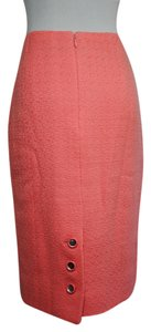 Chanel Cc Logo Coral Boucle Skirt Pink (coral)
