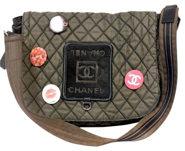 Item - Graffiti Unisex Quilted Military with Calf Hair Jumbo Cross Body Olive Canvas Messenger Bag