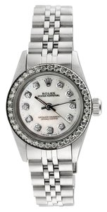 Rolex Rolex Oyster Perpetual Custom Diamond Mother Of Pearl Dial