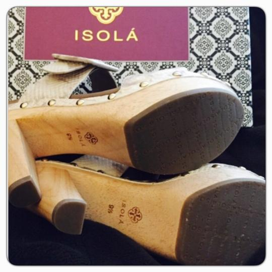 Isola Chucky High Heel Wooden Platforms Snake Print Ivory Ivory Deco Sandals