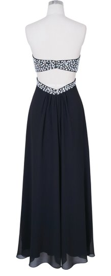 Black Crystal Beads Bodice Open Long Sexy Bridesmaid/Mob Dress Size 4 (S)