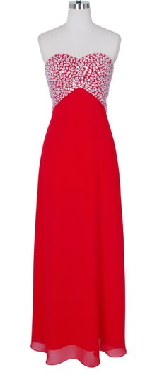Red Chiffon Crystal Beads Bodice Open Back Long Sexy Bridesmaid/Mob Dress Size 4 (S)
