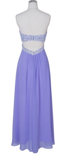 Purple Chiffon Crystal Beads Bodice Open Back Long Formal Bridesmaid/Mob Dress Size 4 (S)