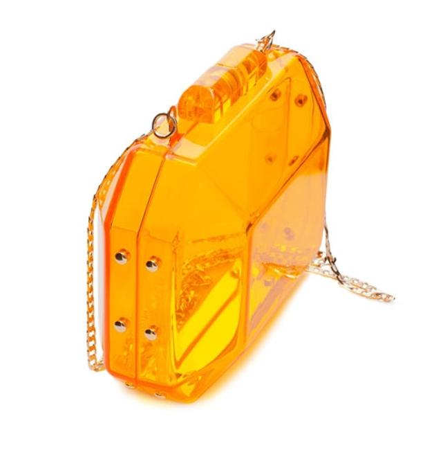Item - Box Neon Miniaudiere with Chain Orange Hard Plastic Resin Clutch