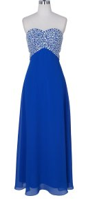 Blue Chiffon Crystal Beads Bodice Open Back Long Sexy Bridesmaid/Mob Dress Size 4 (S)
