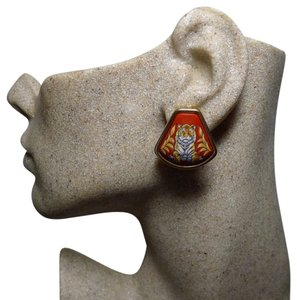 Hermès Authentic Hermes Vintage Tigre Royale Royal Tiger Red Enamel Clip Earrings