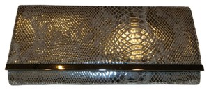 White House | Black Market Night Snake Skin Metallic Clutch