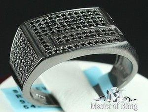 Real Sterling Silver Black Lab Simulated Diamond Iced Out Ring Black Square Band
