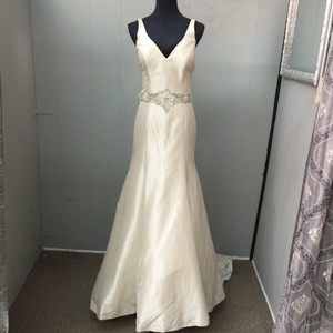 Allure Bridals Champagne Satin 9112 Wedding Dress Size 6 (S)