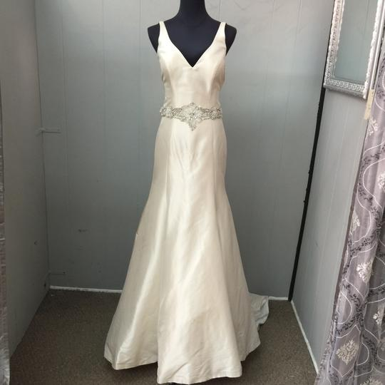 Allure Bridals Champagne Satin Wedding Dress Size 6 (S) Image 1