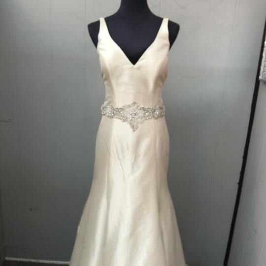 Allure Bridals Champagne Satin Wedding Dress Size 6 (S) Image 3