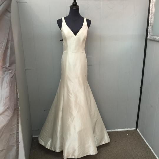 Allure Bridals Champagne Satin Wedding Dress Size 6 (S) Image 4